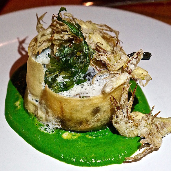 Artichoke and quince tart, sunchoke, slow poached egg, black trumpet mushrooms, chrysanthemum, pasilla de oaxaca