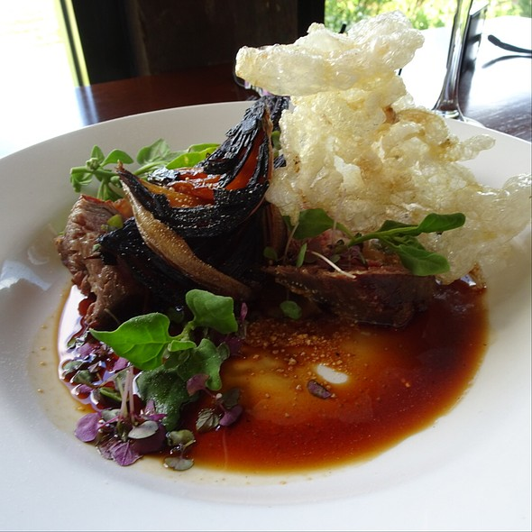 Black Onyx Tri Tip, Crispy Tendon, Miso Mustard, Burnt Eggplant, Ale Onions, Buttermilk Warrigal Greens
