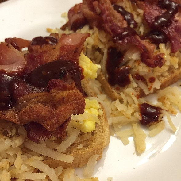 Hash Browns, Eggs, Bacon, And Go Chu Jang On Homemade Whole Wheat Bread
