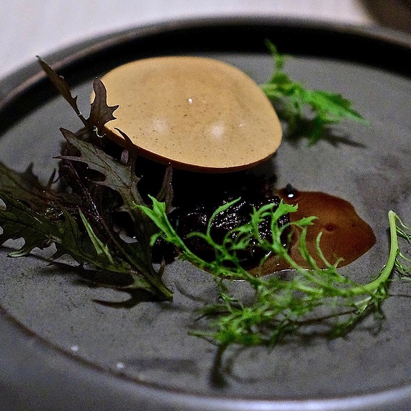 Lamb, black miso, olive soil