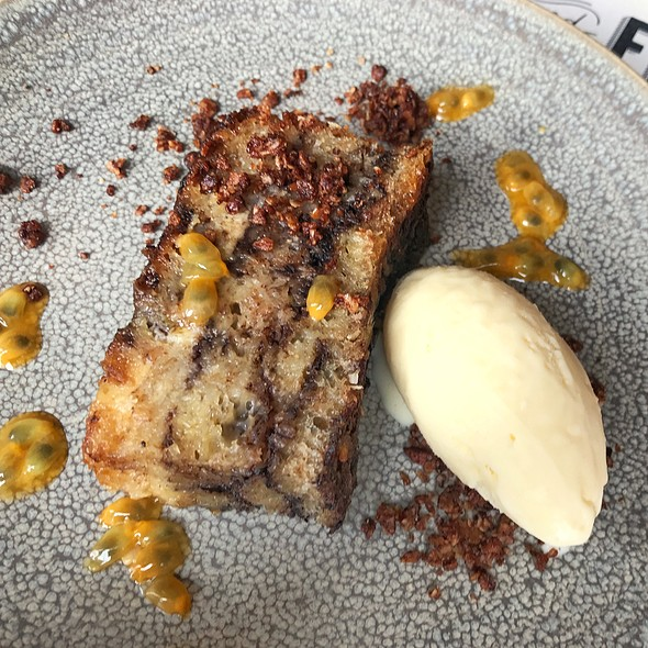 Chocolate Bread And Butter Pudding With Coconut Ice Cream
