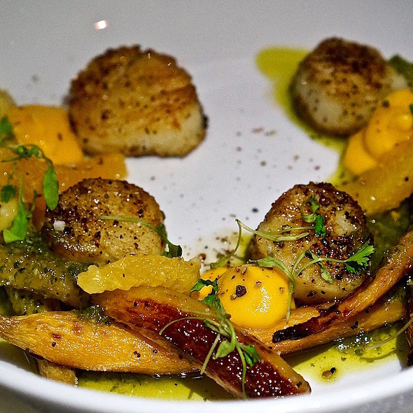 Sea scallops, honey roasted carrot, orange segment, charmoula