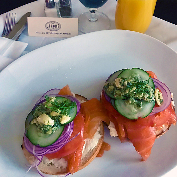 Bagel with Lox and Cream Cheese @ J-Bar at Hotel Jerome