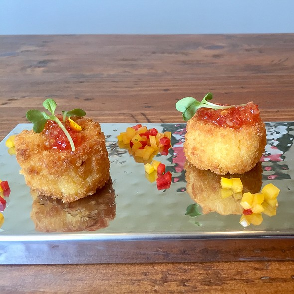 Carolina Shrimp And Stoneground Grit Fritter With Chevre And Sweet And Spicy Chili Sauce