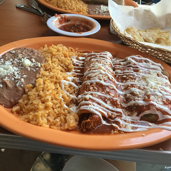 Chili Relleno, Beef Enchilla, Rice and Beans Combo @ Flor De Jalisco