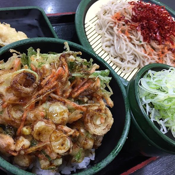 小柱と水菜のかきあげ丼セット W/ 海老天 @ ゆで太郎 西五反田5丁目店
