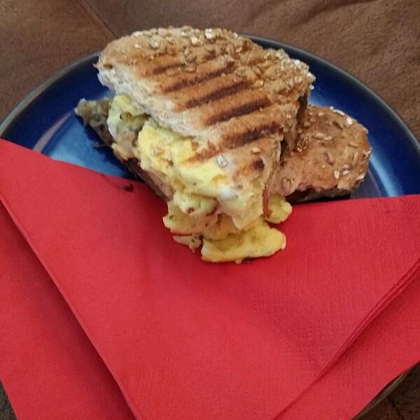Breakfast Panini With Crispy Bacon, Egg & Mushrooms