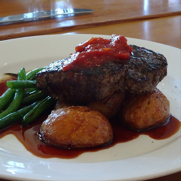 Angus Rump Steak With Chat Potatoes, Seasonal Greens, Tomato Relish And Jus