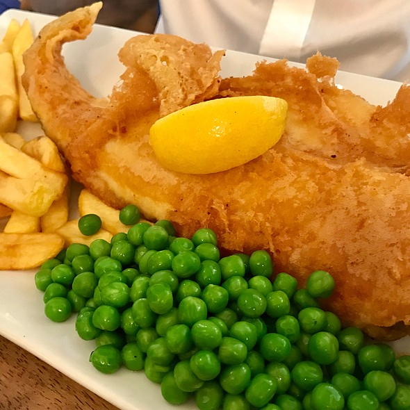 Beer Battered Cod with Chips And Peas