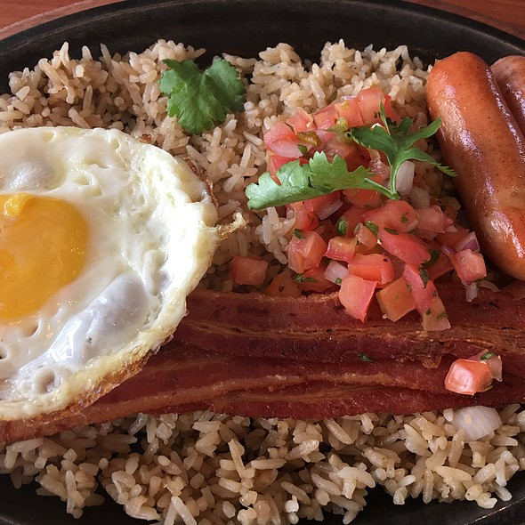 Eggs Bacon Sausage & Rice