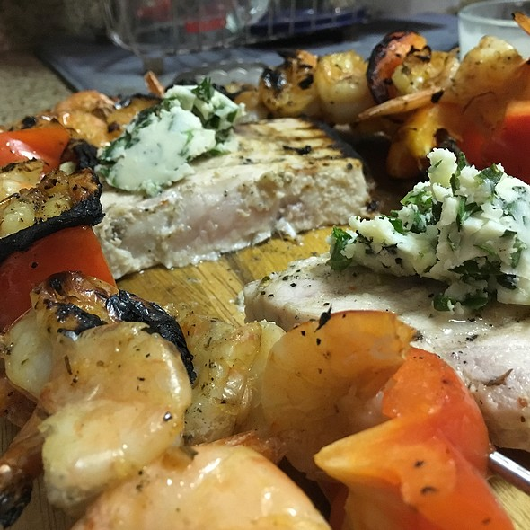Grilled Swordfish With Herb Butter And Grilled Shrimp And Vegetable Kabobs