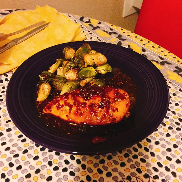 Teriyaki Chicken And Brussel Sprouts With A Balsamic Reduction @ Home