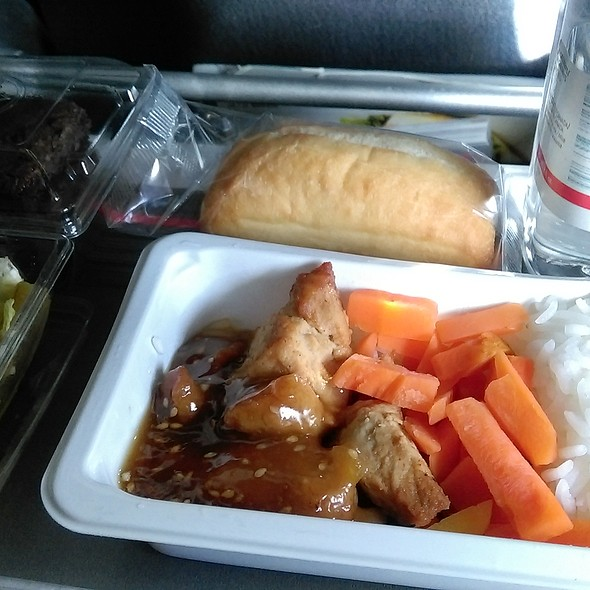Dinner - Fried Seasoned Pork and Carrot with Honey & Sesame Sauce in Rice @ Air Canada YYZ to HKG