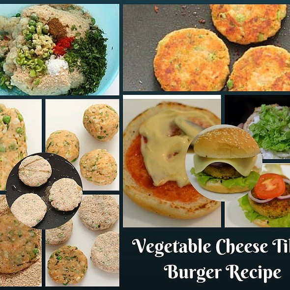 Vegetable Burger Recipe with Homemade Aloo Tikki