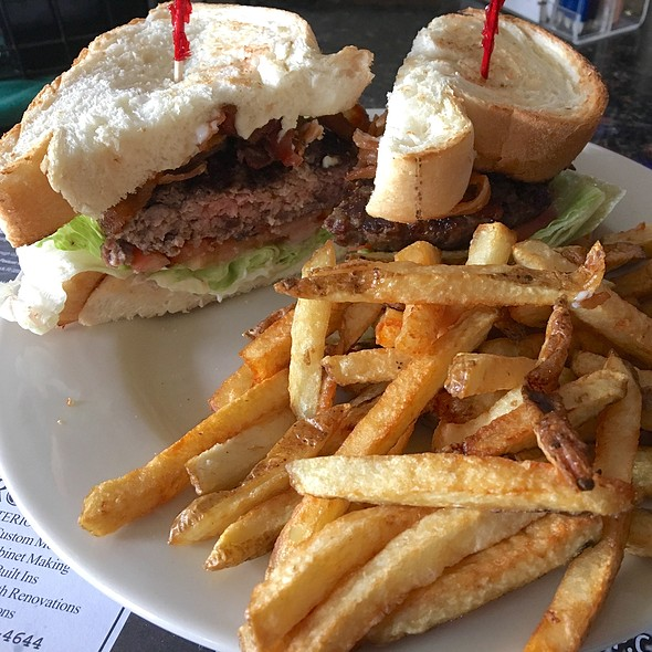 Hamburger Club With French Fries @ Dave's Bar & Grill