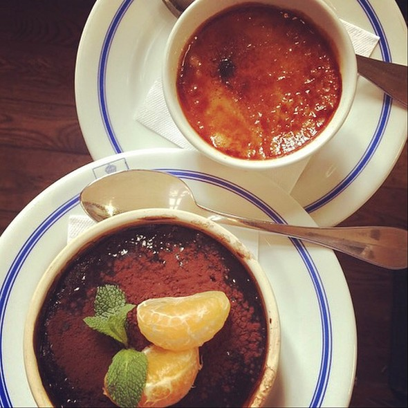 Warm Bittersweet Chocolate Pouding Chomeur And Maple Creme Brulee
