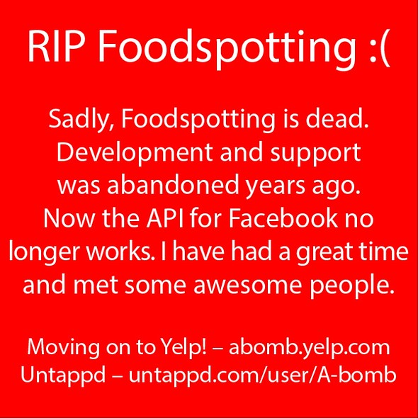 Bye Bye Foodspotting I Will Miss You @ Home