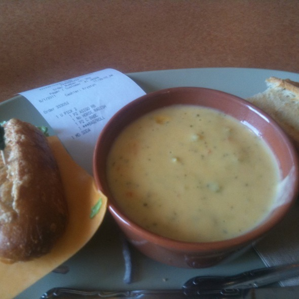 Asiago Roast Beef Sandwich And Brocoli And Cheddar Soup @ Panera Bread