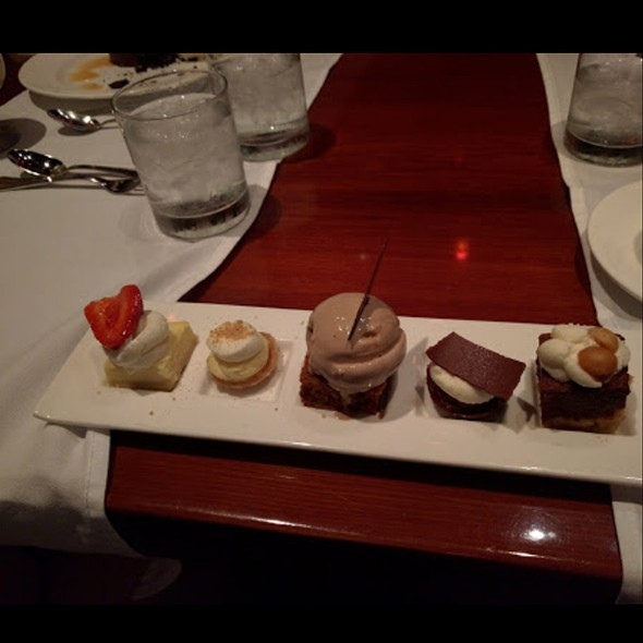 Desert Trio: chocolate souffle, baked alaska, and champagne gelee