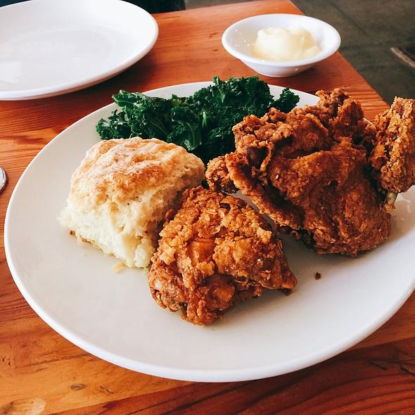 Fried Chicken, Kale Greens, Biscuit, Honey Butter