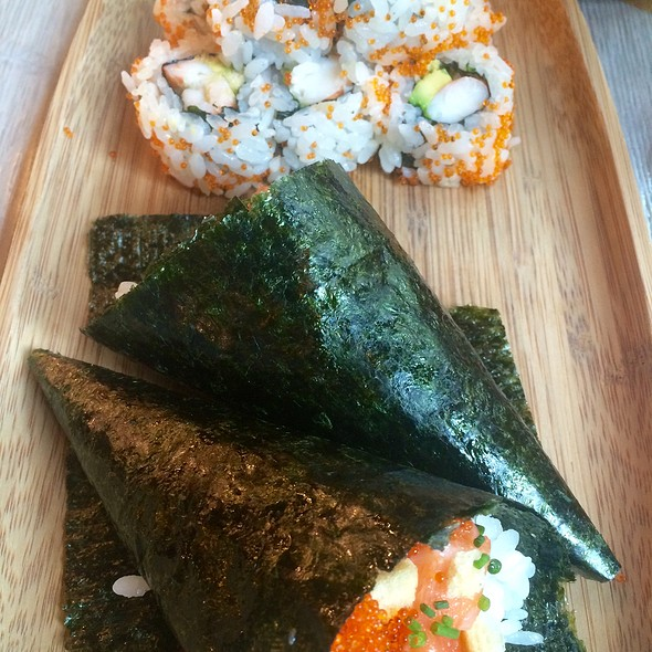 Citrus Salmon Temaki And King Crab California Roll