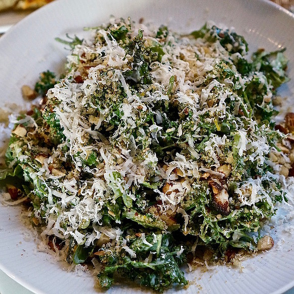 Farm greens salad, bagna cauda, wood-fired almonds, breadcrumbs, Trenta grana parmesan