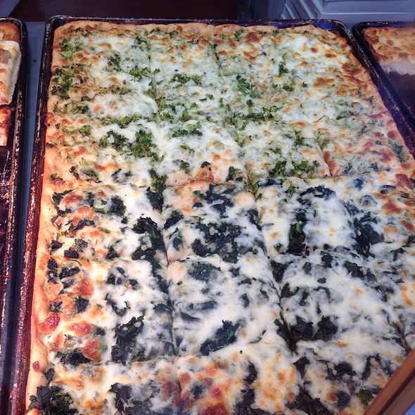 White Square Pizza With Broccoli And Spinach @ Cacia's Bakery