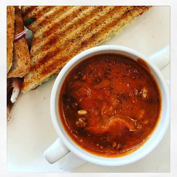 Grilled Club Panini With Roasted Tomato Soup