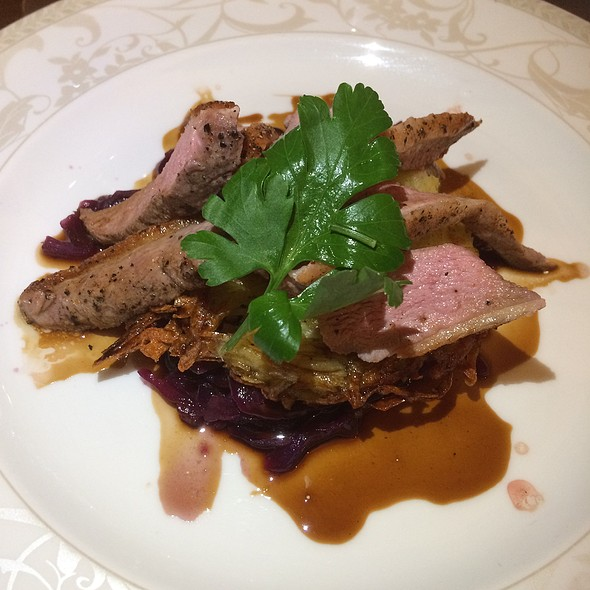 Roast Duck Breast With Potato Rustie, Red Cabbage & Orange Jus