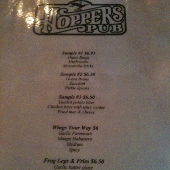 Menu @ Hoppers Pub