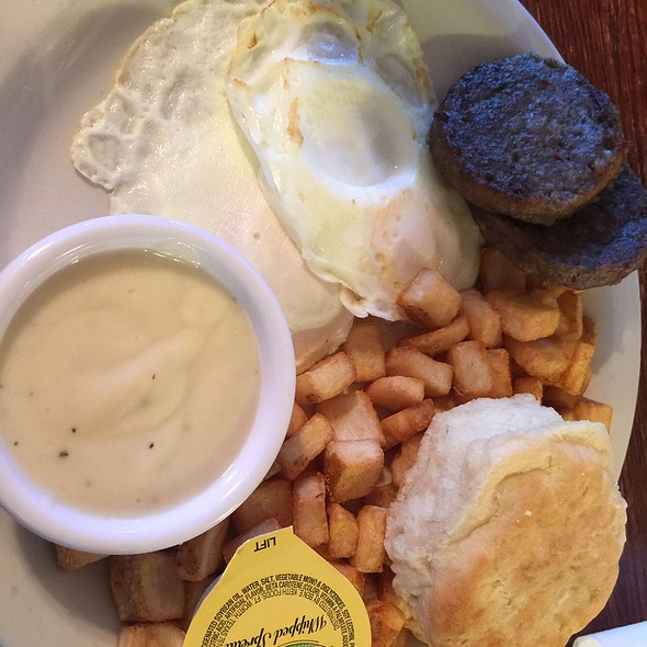 Two Egg Breakfast With Sausage, Home Fries And Biscuit