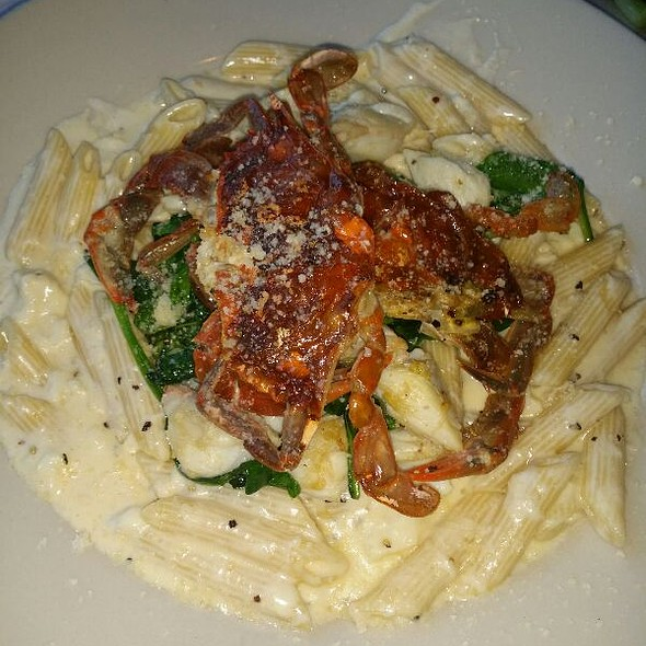 Lump Crab Alfredo W/Pene Pasta Topped With Two Sautéed Softshell Crabs