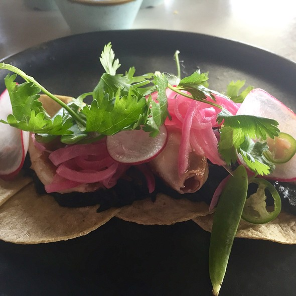 Calamari Tacos With Squid Ink, Purslane, Potato, Cilantro, And Pickled Onion