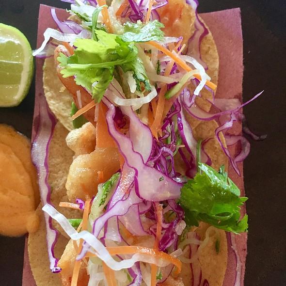 Tempura Shrimp Tacos With Coleslaw, Pickled Onion, Cilantro, And Sriracha Aioli