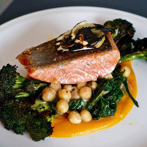 Pacific wild salmon, marinated chickpeas, crisp broccoli, charred lemon, soft herbs, baharat spiced yam purée