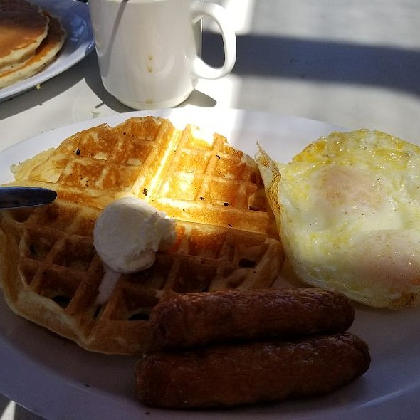 Sunday Special - Waffles And Sausage With A Side Of Over Medium Eggs @ Bravo Burgers