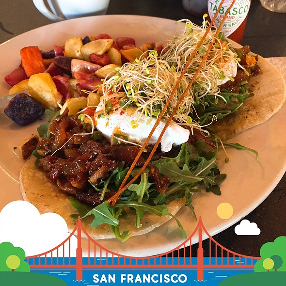 Eggs Benedict With Pork Belly On Corn Tortilla @ Kitchen Story
