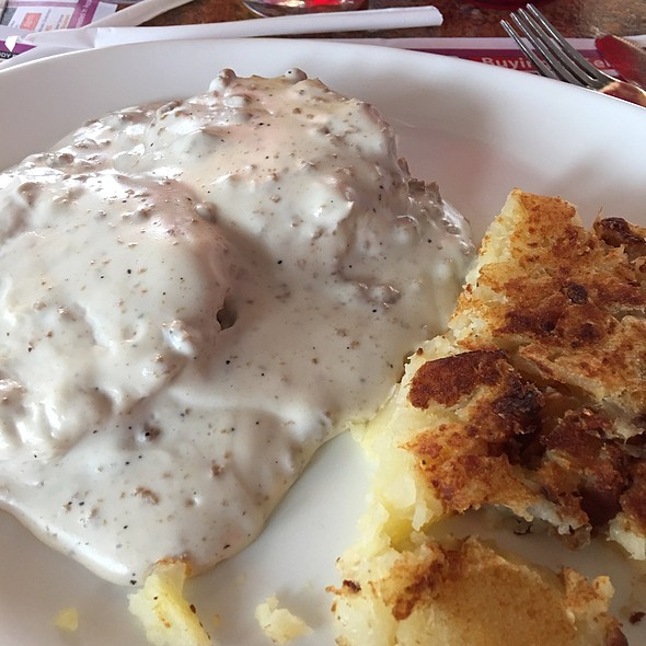 Sausage Gravy over Biscuits and Hash Browns