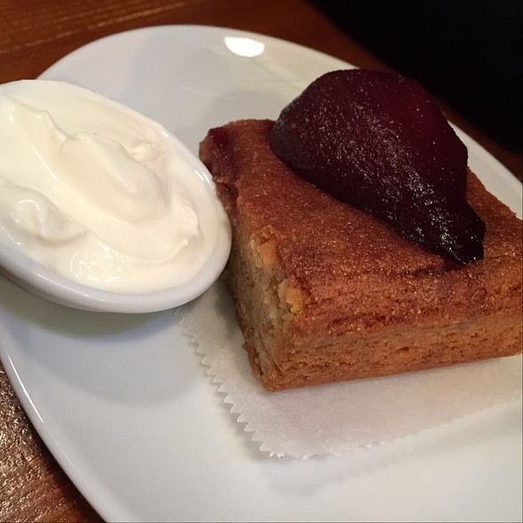 Frangipane with Poached Pear and Cinnamon Whip
