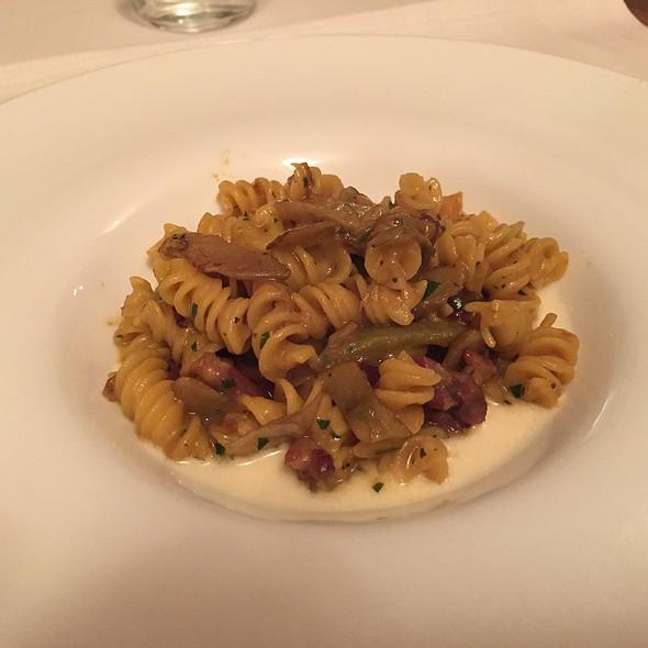 Homemade Fusilli Pasta, Artichokes, Smoked Duck Breast