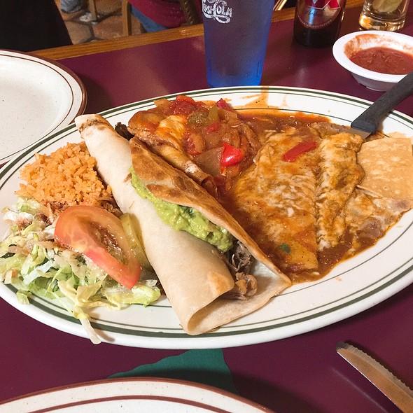 Cheese Enchilada, Carnitas Burrito, And Chile Relleno Combo Plate @ El Novillero Restaurant