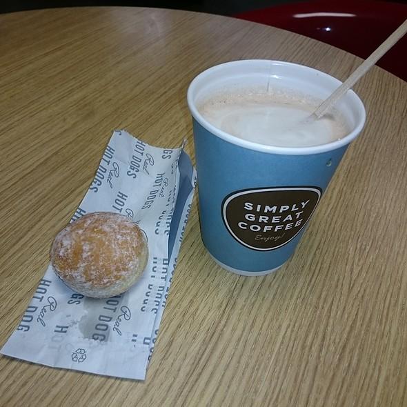 Hot chocolate with jam ball donut