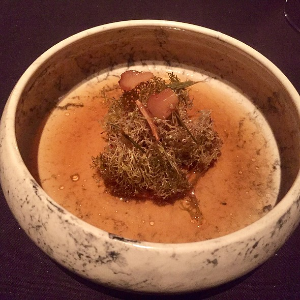 ichen with Heavily Reduced Cream, Preserved Pine Shoots, and Pine Mushroom Broth Seasoned with Spruce Vinegar