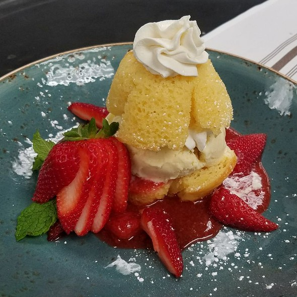 Local Strawberries, Moist Lemon Cake W/ Vanilla Bean Ice Cream