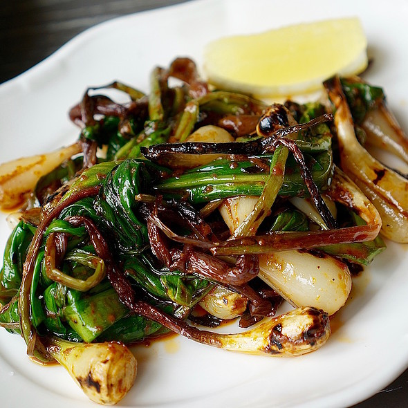 Grilled ramps, chili oil, lemon
