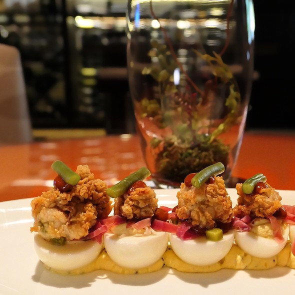 Deviled Eggs With Fried Oysters @ Hubbell & Hudson