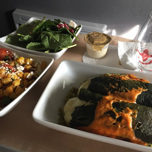 Cheese Stuffed Poblano Peppers @ American Airlines Plane
