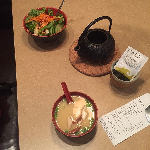 Salad With Ginger Dressing And Miso Soup