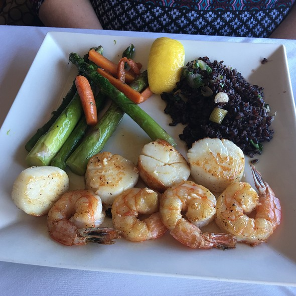 Shrimp & Scallops, Grilled Vegetables And Wild Rice