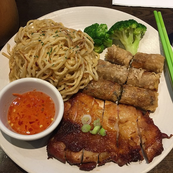 Five Spice Chicken With Garlic Noodles And Imperial Rolls @ Perilla
